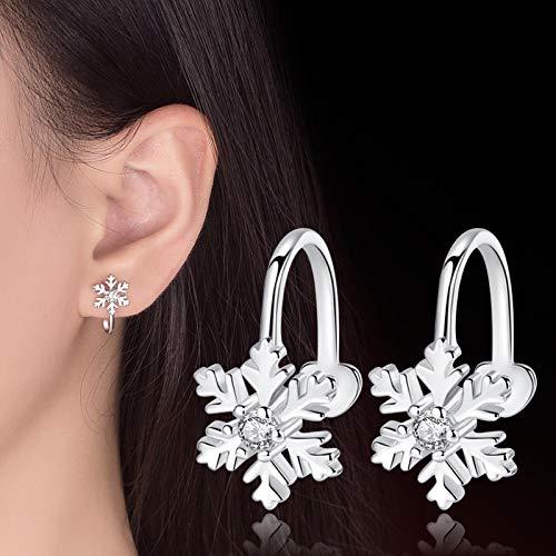 Heli Pendientes de Clip de Copo de Nieve de Estilo Coreano para Mujer sin Piercing de Cristal, joyería de Moda sin Agujero para la Oreja