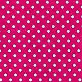 Cerise Pink Polka Dot/Spot Polycotton Stoff (Pro Meter)...