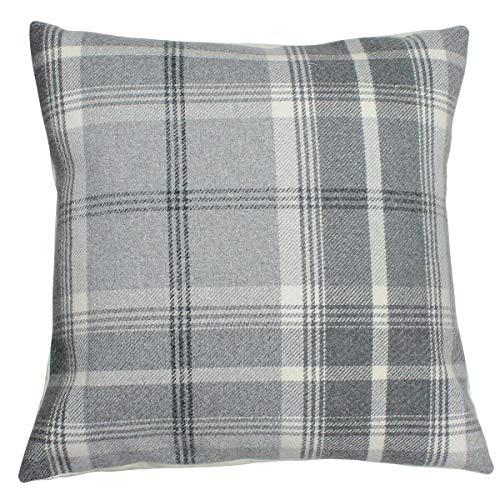Harrison Cropper Dove Grey Balmoral Checked Cushion Cover (16x16, Cream Envelope Back)