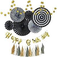 regalo 誕生日 飾り付け セット 男の子 黒 黒白 飾り 1歳 グレー ガーランド モノトーン ペーパーファン バースデー デコレーション HAPPY BIRTHDAY (ブラック)
