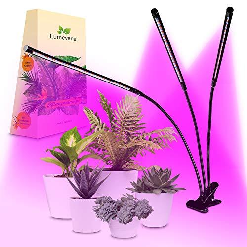 Premium Pflanzenlampe Komplettset – Dimmbare Helligkeitsstufen – Led Pflanzenlampe mit Klipp – [3x 360°] verstellbare Köpfe – Automatische Zeitschaltung