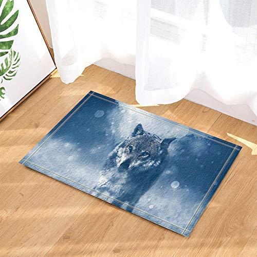 Lobo aullador Colorido Nubes Luna La Puerta deentradadelaalfombra delbañoesantideslizante y fácil de Limpiar, 40X60cm,imprescindible para Uso doméstico.