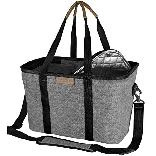 CleverMade SnapBasket Insulated Reusable Grocery Shopping Bag with Shoulder Strap Reinforced Bottom and Zippered Lid Collapsible Canvas Picnic and Food Delivery Tote 30L Size Heather GreyBlack