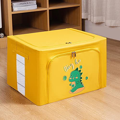 MRBJC Cesta de almacenamiento plegable para guardar ropa, cestas de almacenamiento para juguetes, organizador de cestas, para guardería, hogar, armario, contenedor amarillo de 60 x 42 x 40 cm