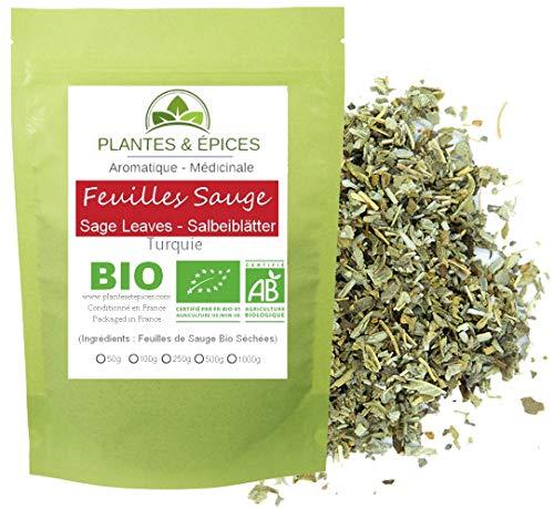 Plantes & Epices - Feuilles de Sauge concassées BIO 100% naturelle, pour Tisane, Infusion, Cuisine gastronomique - Sachet Fraîcheur Biodégradable Refermable (100g)