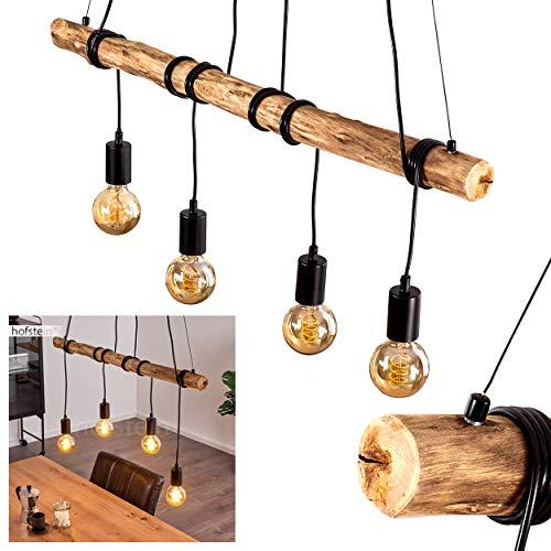 Pendelleuchte Tirana aus Holz/Metall in Braun/Schwarz, Hängelampe m. verstellbaren Leuchtenschirmen, 4 x E27 max. 60 Watt, Hängeleuchte mit Holzbalken im Retro/Vintage-Design, LED geeignet