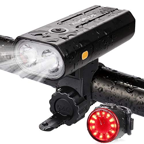 AUOPLUS USB Rechargeable Bike Lights, 2 LED Bike Lights Front and Back, 800 Lumen Ultra Bright Headlight and Rear Taillight Set, 5 Modes Road/Mountain Cycling Safety Lights for Men Women Kids