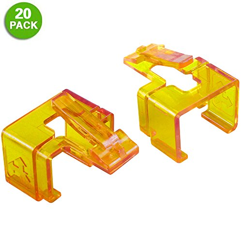 20 Pack Plug SOS Clips in Orange, for RJ45 Connector Fix/Repair and Color Coding/Management, NO Crimp Tool Needed