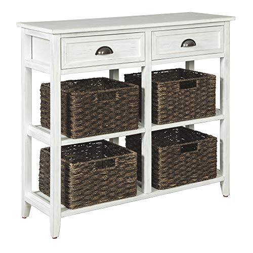 Signature Design by Ashley - Oslember Storage Accent Table - Includes 4 Brown Removable Baskets - Antique White Finish