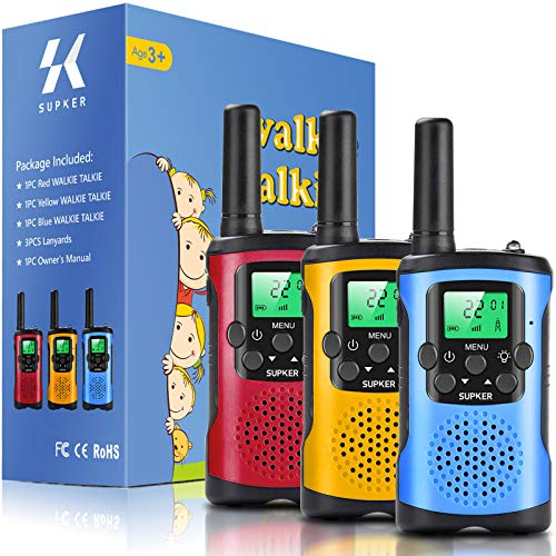 Walkie Talkies for Kids 3Pack, 22 Channels 2 Way Radio Kids Talks Toy for 3-12 Year Old Boys Girls Gift, 3 Miles Long Range for Outdoor Camping Game