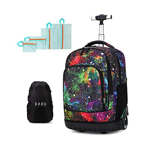 Maleta cabina trolley bolsa para mujer o hombre, regalo de vuelta a la escuela, mochila con ruedas, maleta, equipaje, cabina, viaje, escuela, bolso para niño o niña, deporte, M (Rojo) - DYMY-TRO-15-13