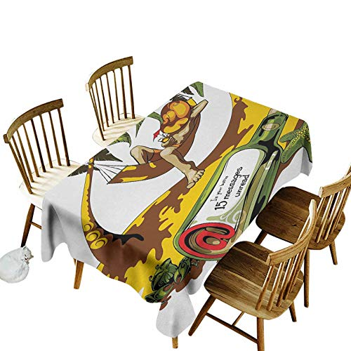 Holiday Oblong Table Cloth Image of Young Man in Hammock and Message in a Bottle at Beach Artsy Decor Dining Room Home Tabletop Decoration(Rectangle) 54x72 White Green Yellow