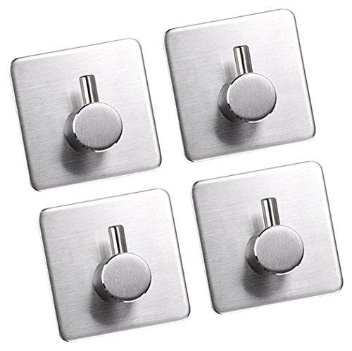 3M ganchos adhesivos, gabinetes de acero inoxidable 304perchero toalla Robe Hook rack soporte de pared para cuarto de baño y baño por jisimi (4unidades)