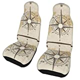 TUBIAZICOL Vintage Nautical Compass Old World Map Car Front Seat Covers 2 Pcs Vehicle Seat Protector Car Mat Covers Comfort Covers Decorative for Cars, Sedan, SUV, Truck