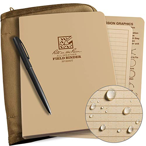 Rite in the Rain Weatherproof Binder Kit: Tan Cordura Cover, Tan Binder, 50 Sheets Tan Universal Loose Leaf, Weatherproof Pen (No. 9200T-KIT)