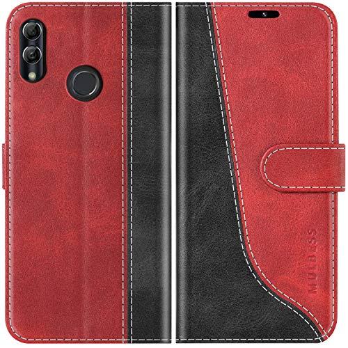 Mulbess Funda para Huawei P Smart 2019, Funda Honor 10 Lite, Funda con Tapa Huawei P Smart 2019, Funda Huawei P Smart 2019 Libro, Funda Cartera para Huawei P Smart 2019 Carcasa, Vino Rojo