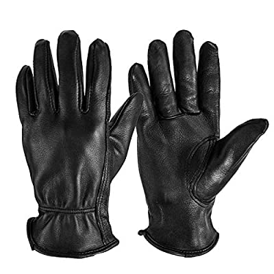 OZERO Riding Gloves, Grain Deerskin Leather Work Gloves for Rubbing Jewelry/Shooting/Hunting/Driving/Riding/Yard Work/Gardening/Farm - Extremely Soft and Perfect Fit for Men & Women (Black,S)