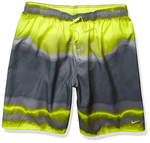 Nike Swim Men's Printed Volley Short Swim Trunk, Lemon Venom Optic Halo, Small