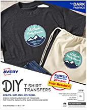 Pack of 5 Printable Heat Fabric Transfer Paper for Dark T-shirts, Totes, and Bags by Avery (3279)