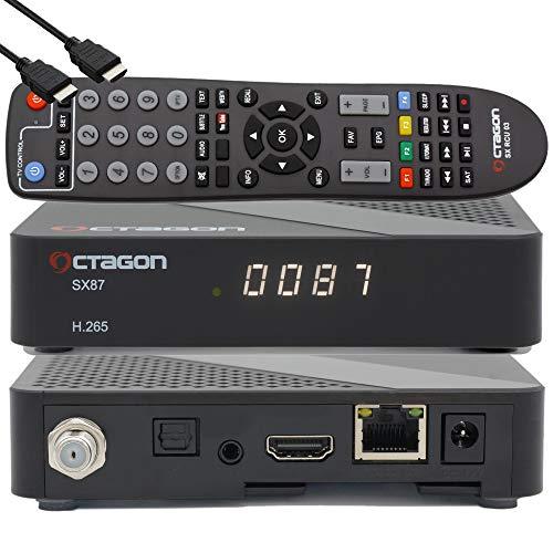 Octagon SX87 HD H.265 S2 + IP HEVC Set-Top Box - Receptor de TV por satélite preprogramado con tarjeta TiVuSat HD Gold activada, multimedia, radio web, aplicación iOS y Android, PVR, EasyMouse HDMI