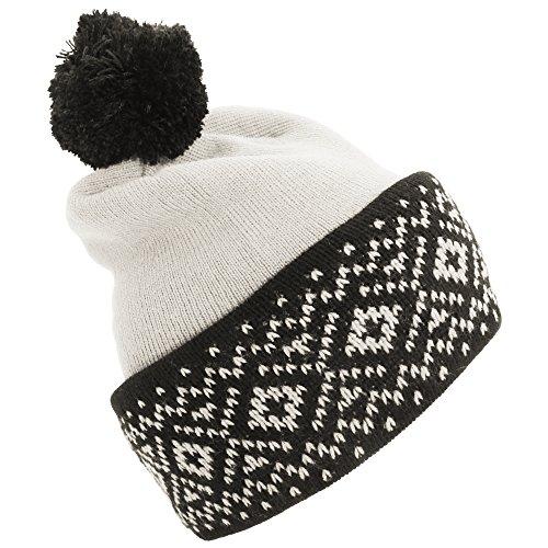 Textiles Universels Bonnet à Pompon 3 en 1 - Homme (Taille Unique) (Blanc)