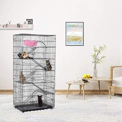 Luxury 6-Tier Kitte Cat Ferret Cage Portable Cat Home Fold Pet Cat Cage Playpen, Cat Supplies, Shipping from The US (Black)