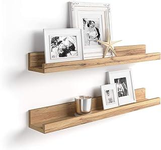 Mobili Fiver, Par de estantes para Cuadros, Modelo First, 80 cm, Color Madera Rustica, Aglomerado y Melamina, Made in Italy