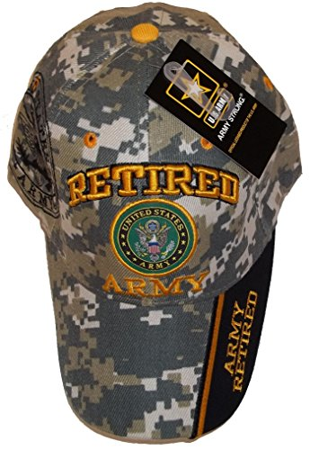 Retired Army Camo w/ Seal Embroidered Baseball Cap Hat USA US Military Licensed