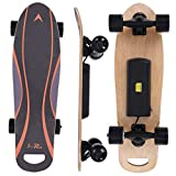 Miskoo 27.5in Electric Skateboard with Wireless Remote Drop Through Complete Skateboard Concave Skateboards for Adults Teens, Maple Longboard