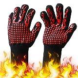 KKmoon Luvas de churrasco com listras antiderrapantes de silicone Luvas de forno à prova de calor 500 ~ 800 ℃ Luvas de churrasco resistentes ao calor para churrasqueiras ao ar livre, churrasqueiras, churrasqueiras, cozinhas, soldagem
