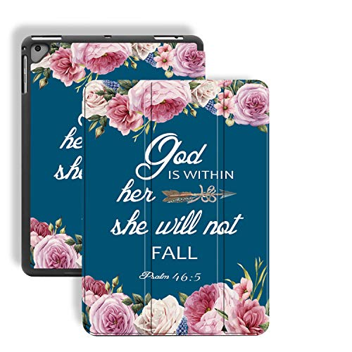 iPad 9.7 2018/2017/iPad Air 2 Case,Bible Verse Psalm 46:5 Pattern PU Leather Slim Soft TPU Back with Pencil Holder Cover for iPad 9.7 Inch 5th/6th Generation(Auto Wake/Sleep)