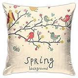 EU Spring Birds On Branches Funda de Almohada Decorativa Fun