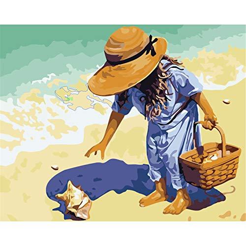 DIY de DIY kits de los números Niño recogiendo conchas en la playa Pintura para Adultos y Niños De Lona Preimpresos para la Decoración De La Casa oficina Frameless,40x50cm