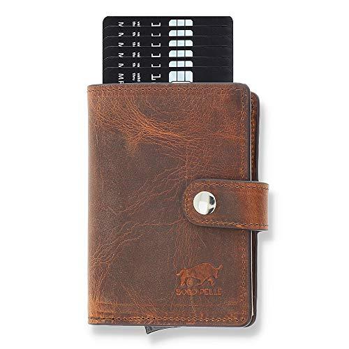 Solo Pelle Leder Geldbörse Q-Wallet mit integriertem Kartenetui für 15 Karten + Geldscheine geeignet | Kreditkartenetui mit RFID (Vintage Braun)