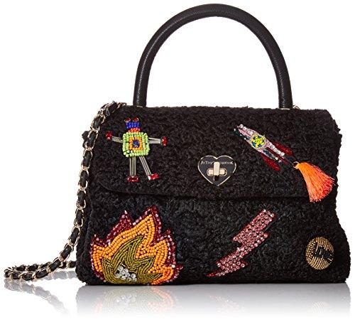 Betsey Johnson Damen Umhängetasche, Handtasche, schwarz, Einheitsgröße