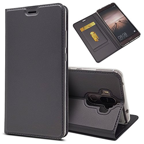 Huawei Mate 9 Case, Jaorty Huawei Mate 9 Classic PU Leather Wallet Case Slim Folio Book Cover with Credit Card Slots, Cash Pocket, Stand Holder, Magnet Closure for Huawei Mate9 - Black