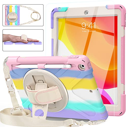 Blosomeet iPad 8th Generation Case 2020 10.2 Inch for Kids Girls Cute w/ Tempered Glass Screen Protector & Pencil Holder  Rugged iPad 7th/8th Gen 10.2 Case Cover 2019 Pink w/ Stand Hand Shoulder Strap