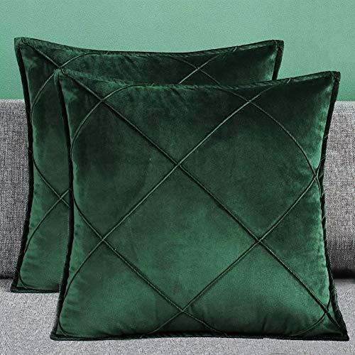 Matty-LZ Samt Einfach Weicher Kissenbezug Hochwertige Qualität Set, Dekorativ Sofa Kissenbezug Kissen Kissenhülle (18x18 Zoll / 45x45 cm, Grün (2er Set))