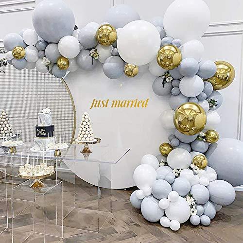 MMTX Grau Weiß Luftballon Girlande Set,112 Stück Hochzeits Dekoration Ballon Set mit weiß Matt Ballon,Doppelschicht Latex Ballon,Gold Metallic Ballon,Luftballon Kit für Hochzeit Geburtstagsfeier
