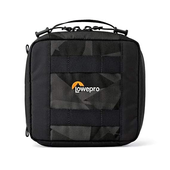 Lowepro LP36915 ViewPoint CS 40 - A Soft-Sided Protective Case for a Smartphone, GoPro or 360 Camera and Accessories… 1 Smart interior organization includes adjustable dividers, three with a built-in pockets to stash a backdoor, filter or remote (and keep it from scratching camera); plus a roomy zippered pocket for cables, backdoors, mounts, tools, manuals, etc.; top panel with built-in memory pockets; plus a padded panel with stretching webbing straps to organize and secure cables and mounts Super-portable design makes it easy to carry in a larger bag or carry by the grab handle. Exterior webbing straps provide extra carry and attach options.