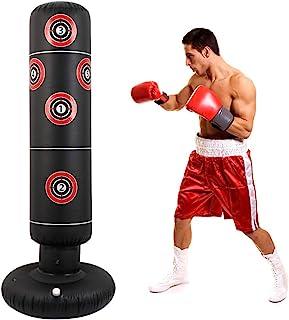 Geagodelia Sac de frappe gonflable sur pied pour adultes et adolescents Colonne de boxe gonflable avec base /épaisse pour exercice et soulagement du stress sans pompe 160CM citronier