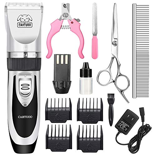 CAHTUOO Dog Clippers,Professional Dog Grooming Clippers Kit Rechargeable Quiet Pet Shaver Cordless Dog Cat Hair Trimmer with Scissor,Guards,Combs for Dogs Cats Other Animals- Silver (Upgrade Version)
