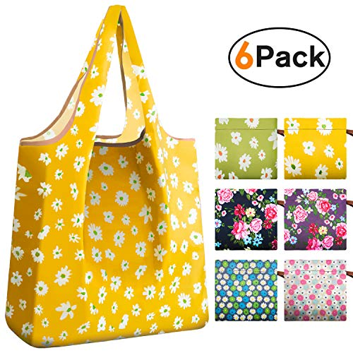 REGER Reusable Shopping Foldable Bulk Tote Bags One Piece Construction Attachment Pouch Eco Friendly Gift (Mix Flowers,Pack of 6)