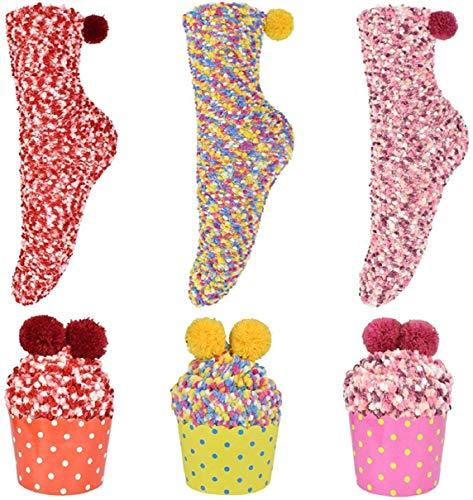 Weihnachtssocken, BETOY 3Paar Mädchen Socken Cupcake Kuschelsocken Geschenk Box Damen Socken Weihnachtsgeschenke Valentinstag Geburtstagsgeschenk für Frauen Freundin