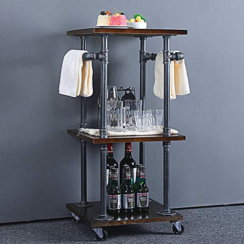 HANS CAO Industrial Rolling Bar 3-Tiered Serving Cart Kitchen Wine Storage Rack Pipe Dining Cart with Pulley Steampunk Style, 15.7x15.7x33.4inches
