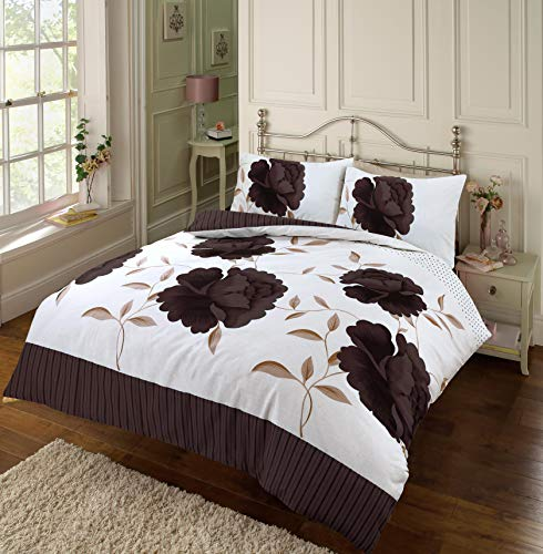 EHD Rosaleen Floral Pattern Modern Stylish Duvet Cover Sets Quilt Cover Sets Reversible Bedding Sets By NZ (Chocolate, King)