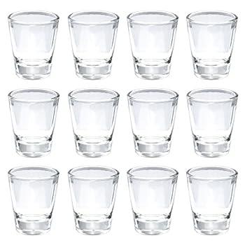 Thirsty Rhino Karan Round 1.5 oz Shot Glass with Heavy Base Clear Glass Set of 12