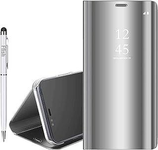 Galaxy Note 3 贅沢なミラーケース、[メタルメッキ技術] [半透明ビューウィンドウ]超薄型軽量フリップスタンド、磁気保護ケースカバー、ためにSamsung Galaxy Note 3 - シルバー