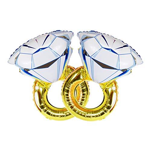 ballonfritz® 2X Diamant Ring Helium Luftballon Set - XXL 70cmx45cmFolienballon-Set als Hochzeit Deko oder Liebes-Überraschung zum Valentinstag oder Heiratsantrag