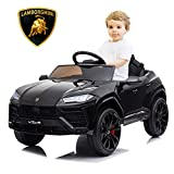 SEGMART Kids Electric Ride-on Car, Licensed Lamborghini Urus Ride-on Motorized Car for Kids, 12v Remote Control Electric Vehicle Toys for 3~6yr Boys Girls, w/Remote/Music Player/Lighting, Black
